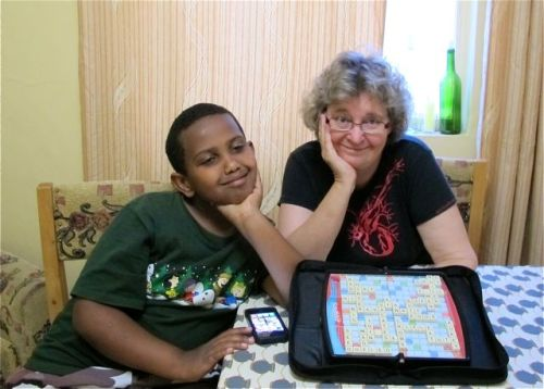 eyob and me with scrabble