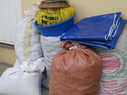 sacks of berebere ingredients