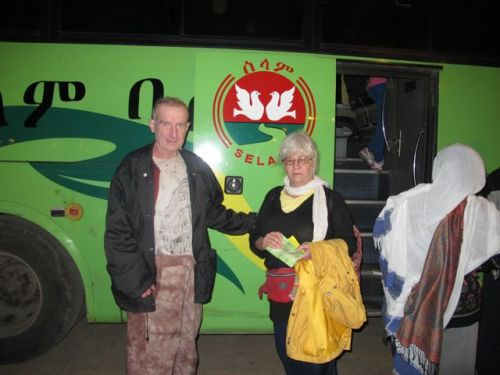 steve and shelagh at selam bus