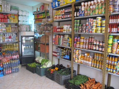 inside fruit and veg shop