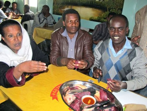 Zaid, Tesfaye and Kedir at lunch cafe