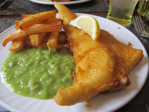fish chips and mushy peas