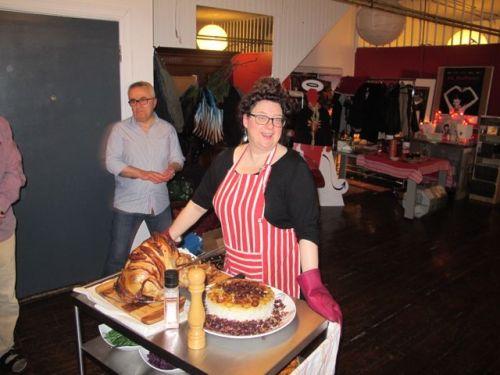kat serves her turkey